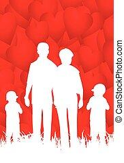 Familia feliz - vector abstracto ilustración con corazones.