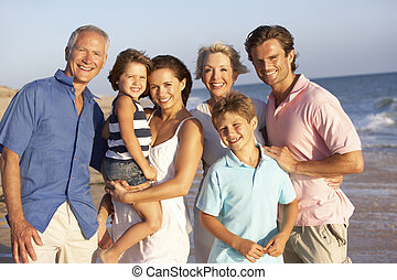 familia , generación, tres, retrato, feriado, playa
