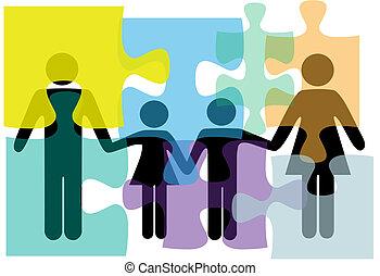 familia , gente, rompecabezas, solución, salud, servicios, problema