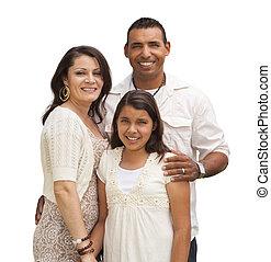 Familia hispana aislada en blanco