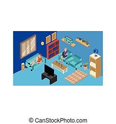familia , interior, habitación, vida, actividades, hogar, isométrico