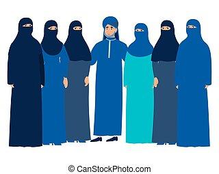 Familia musulmana, hombre con un harén. Al estilo minimalista Vector plano Cartoon, aislado en fondo blanco