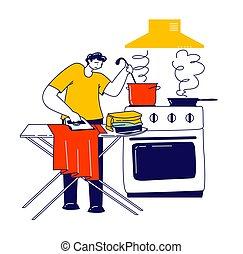 familia , padre, economía doméstica, cocina, carácter, time., ocupado, hombre, mismo, macho, casa, planchado, ropa, rutina