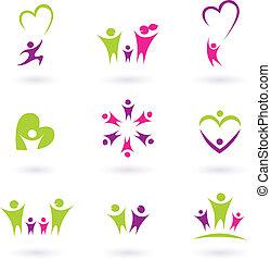 Familia, relación y colección de iconos de personas (verde, rosa, p
