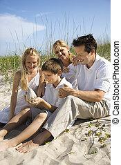 Familia sentada en la playa.