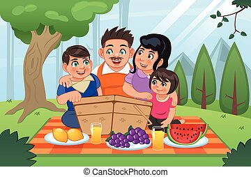 Familia teniendo picnic juntos
