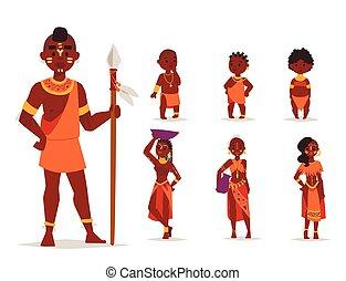 familias, illustration., gente, tradicional, persona, maasai, vector, africano, ropa, feliz