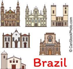 Famosa marca de viaje de icono de línea de Brasil