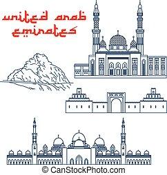 Famosas atracciones turísticas de iconos de línea delgada de UAE