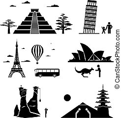 famoso, iconos, monumentos, viaje