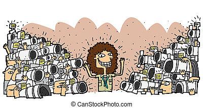 famoso, rodeado, carácter, paparazzi, multitud