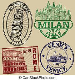famoso, sellos, ciudades, italiano