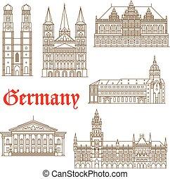 Famosos monumentos de icono de arquitectura alemana