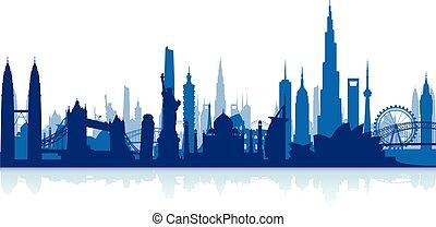 Famosos monumentos de las ciudades escape backgrou