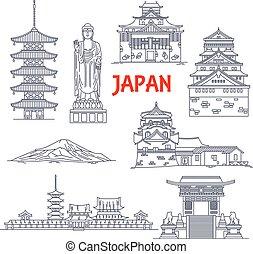 Famosos monumentos de viaje de Japón