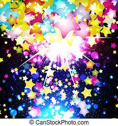 fantástico, illustration., colorido, vuelo, fondo., brillante, vector, diseño, estrellas