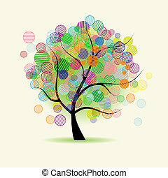 fantasía, arte, árbol