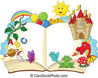 fantasía, caricatura, libro
