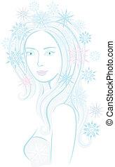 fantasía, copo de nieve, doncella