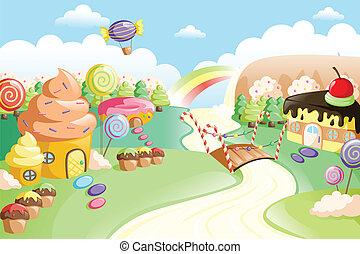 Fantasía dulce tierra de comida