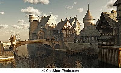 fantasía, o, medieval, diques
