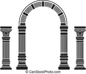 fantasía, plantilla, arco, columns.