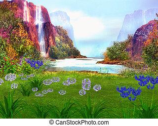 fantasía, soñador, paisaje
