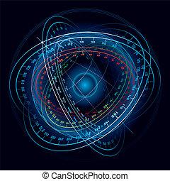 fantasía, sphere., navegación, espacio