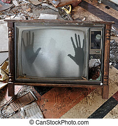 fantasma, conjunto de la tv, aparece, parpadeo