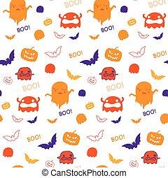 fantasma, murciélago, patrón, halloween, seamless, vector, plano de fondo, calabaza
