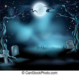 fantasmal, escena de halloween, plano de fondo