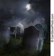Fantasmas vagando por el viejo cementerio