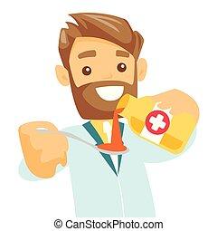 Farmacéutico caucásico echando jarabe para la tos en cuchara.