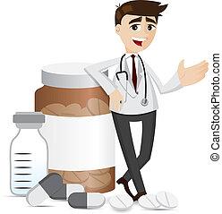 Farmacéutico de dibujos animados con pastillas y botella