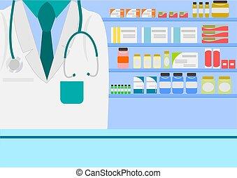Farmacéutico en farmacias o farmacias con pastillas medicinales cápsulas botellas vitaminas y pastillas de fondo.