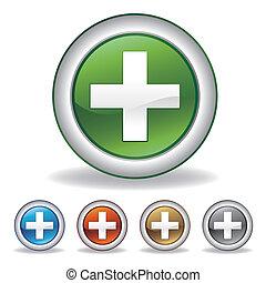 farmacia, cruz, icono
