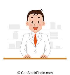 farmacia, hombre estar de pie, químico