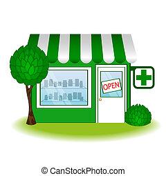 farmacia, icon., casa, vector