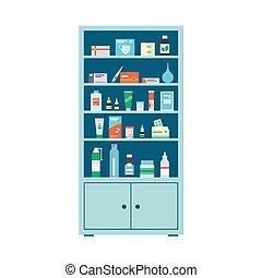farmacia, lleno, vector, drogas, plano, bottles., médico, shelves., cabinet., ilustración, blanco, estilo, píldoras, plano de fondo, gabinete