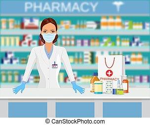 farmacia, moderno, interior, o, drugstore.