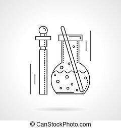 Farmacología, línea plana de diseño icono vectorial