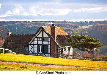 Farmhouse en una colina