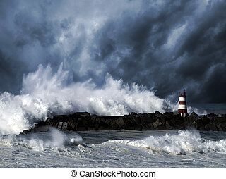 faro, tempestuoso, contra, ondas