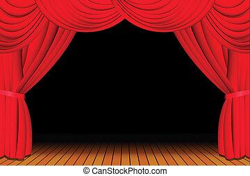 Fase con cortina roja abierta