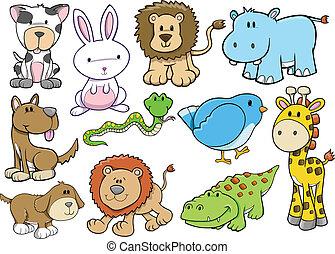 fauna, vector, conjunto, animal, safari