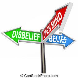 fe, contra, creencia, incredulidad, mente, tres, calle, manera, señales, camino abierto