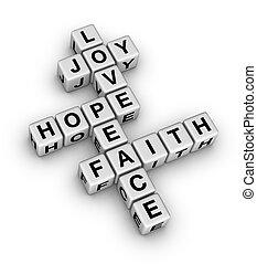fe, paz, amor, alegría, esperanza