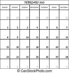 Febrero 2015 Planeador de calendarios el mes en el campo trasero del transpanderente