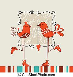 fecha, aves, romántico