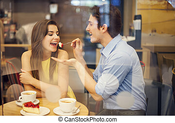 fechando, café, romántico